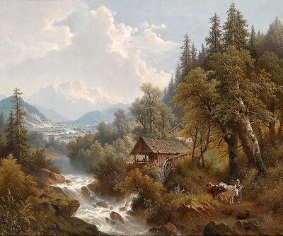Oil painting little wooden house by creek landscape with woman and cows canvas