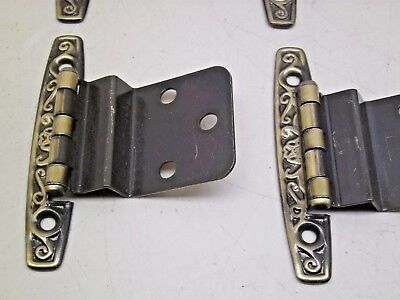 NOS VINTAGE LOT OF 10 PAIR  CABINET HINGES GOLD ANTIQUE  BRASS finish A