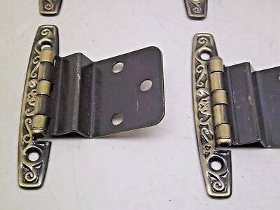 Nos Vintage 10 Pair [20 Hinges] Kitchen Cabinet Hinges Gold Antique Brass Finish