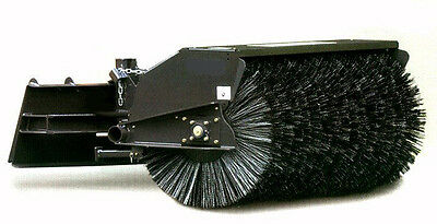 """Skid Steer Angle Broom Industrial Series 84"""" Wide Hydraulic w/ Poly/Wire Brush"""