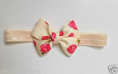 Floral Rose Vintage Style Baby Girl Headband | Ivory and Soft Elasticated Band