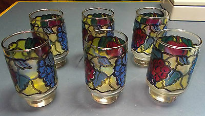 VINTAGE LOT OF 6 LIBBEY JUICE FRUIT STAIN GLASS  DRINKING GLASSES  4 3/4 '' TALL