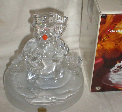 """CRYSTAL D'ARGUES FRANCE LEAD CRYSTAL """"MUSICAL FROSTY"""" SNOWMAN BOX"""