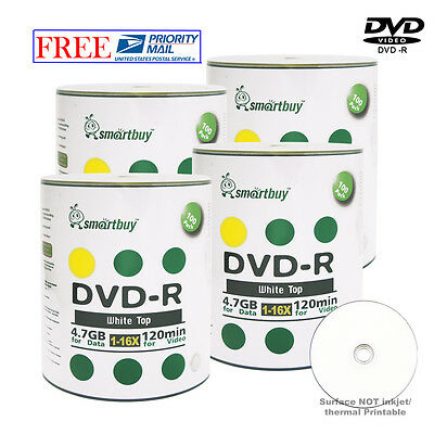 400 Pcs Smartbuy Blank DVD-R DVDR 16X 4.7GB White Top Storage Recordable Disc