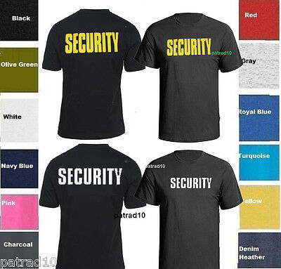SECURITY T-SHIRT Event Bouncer  Shirt Tee -TWO SIDES SZ S-5XL