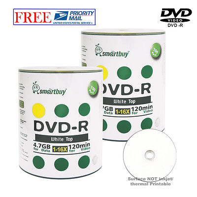 200 Pcs Smartbuy Blank DVD-R DVDR 16X 4.7GB White Top Storage Recordable Disc