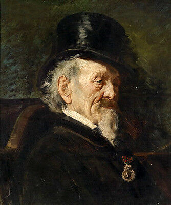 Nice Oil painting male portrait elder seated with black hat Medal canvas