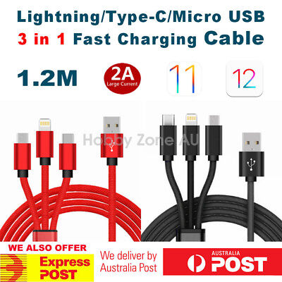 3in1 Lightning Type C Micro USB Braided Charge Cable 4ft for iPhone Samsung