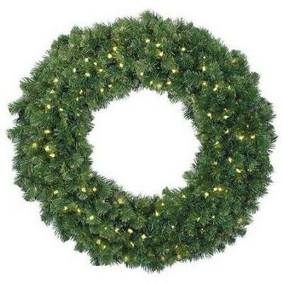 "Barcana 36"" Alaskan Fir Wreath - Pre-Lit with Clear Mini Lights"