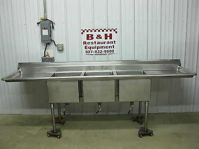 "108"" Heavy Duty 18"" x 22"" 3 Bowl 2 Drain Board Compartment Stainless Sink 9'"