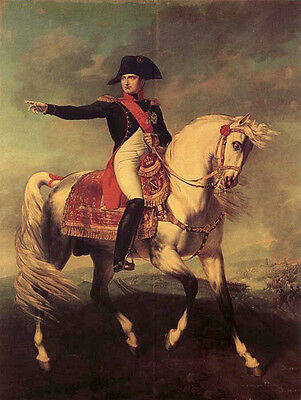 Beautiful Oil painting Emperor of the French Napoleon on white horse in view