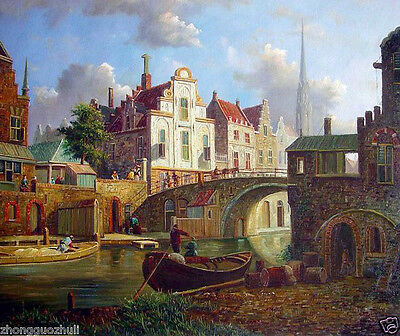 Oil painting Holland Netherlands Street landscape with church canoe by the river