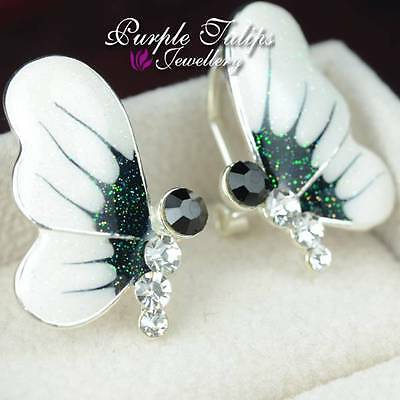 18K White Gold Plated Butterfly Earrings Made With French Clip&SWAROVSKI Crystal