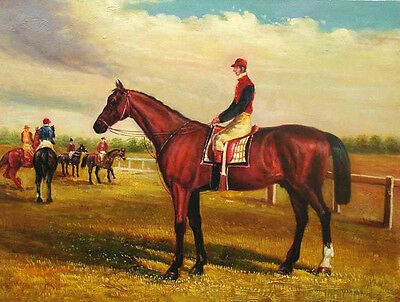 Enchanting Oil painting Race driver male portrait on red horse in landscape