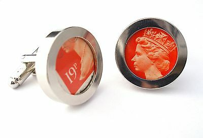 Stamp Cufflinks made from Real British Royal Mail Postage Stamps 1st class post