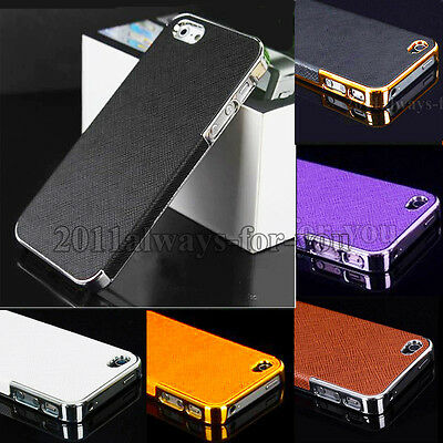 Hot Luxury Leather Chrome Bumper Frame Hard Back Case Cover For iPhone 4 4Gs 4S