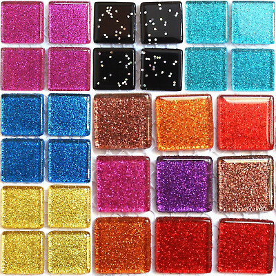 Glitter Mosaic Tiles 20mm - 49pcs Various Colours