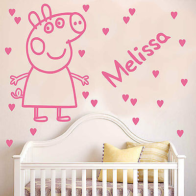 PEPPA PIG | Wall decal sticker with hearts and personalised name kids bedroom K1