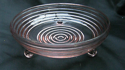 1938 Pink Depression Glass Manhattan Horizontal Ribbed 3 Footed Candy Dish