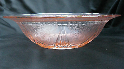 1934 Pink Depression Glass Royal Lace 10 Inch Master Berry Bowl