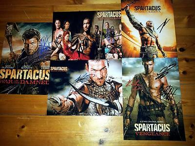 "Spartacus Set Of 5 Pp Signed 12""x8"" Poster Andy Whitfield Liam Mcintyre"
