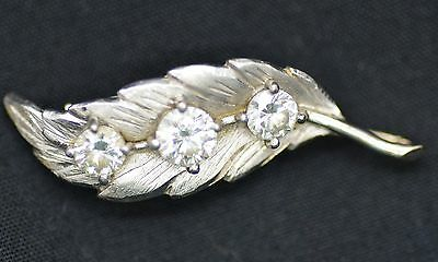 Vintage 14 K white gold and diamond brooch