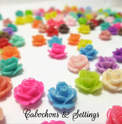 Cabochons Resin Flatback Flowers 50 Mixed Roses Retro Style 10mm x 6mm