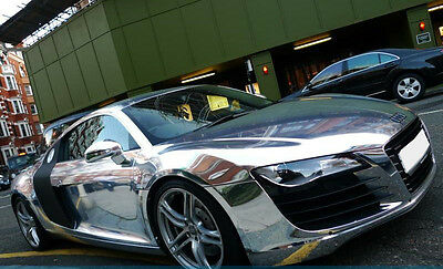 22 x 32 cm FILM VINYLE CHROME ARGENT THERMOFORMABLE CAR WRAP TUNING DISCOUNT