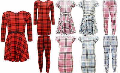 New Girls Kids Tartan Midi Bodycon Skater Dress Legging 7 8 9 10 11 12 13 Years