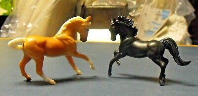 Lot Of 2 Breyer Reeves Miniature Plastic Horses Dated 1999