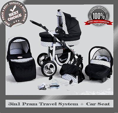 SILVER BABY TRAVEL SYSTEM 3in1 PRAM PUSHCHAIR CAR SEAT 12 COLOURS REDUCED PRIC