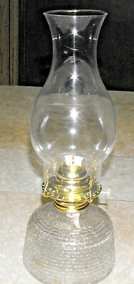 "Vintage Anchor Hocking Soreno Glass Non Electric Oil Lamp 13.5"" New Burner Wick"