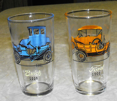 VINTAGE lot of 2 OLD AUTOMOBILE GLASSES TUMBLERS SWANKY SWIGS 10oz.CHEVY FORD