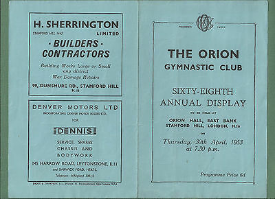 1953 Programme For 68Th Annual Display Of The Orion Gymnastic Club