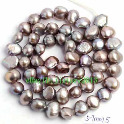 """5-7mm Natural Gray Freshwater Pearl Freeform Shape Gems Loose Beads Strand 15"""""""