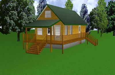 16x30 Cabin w/Loft Plans Package, Blueprints & Material List