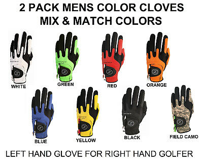 Zero Friction Compression-Fit Golf Glove 7 Color One Size Fits All 2 Pack