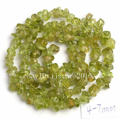 4-7mm Natural  Peridot Freeform Gravel DIY Gemstone Loose Beads Strand 16""