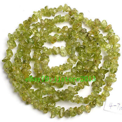 4-7mm Natural  Peridot Freeform Grave DIY Gemstone Loose Beads Strand 34""