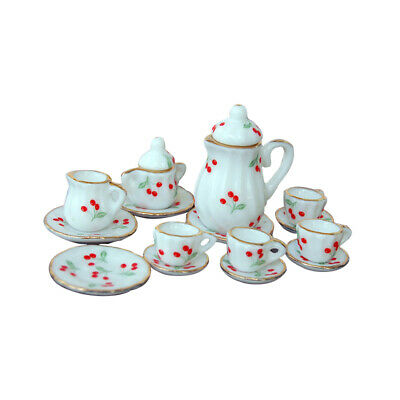 Lot of 15 Rosebud Porcelain Dollhouse Miniature Coffee Tea Cup Set H2S2 MT
