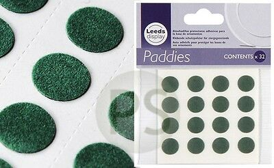 Green Felt Disc Paddies 32 self adhesive protective pads :ornament pottery glass