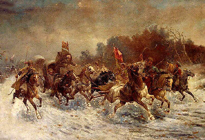 Oil painting A Siberian Gold Convoy male portraits with Cavalry in view canvas