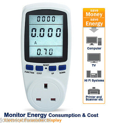 Power Meter LCD Monitor Watt/Volts/Amps Kwh Energy Electricity Meter Plug-in UK