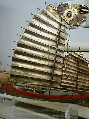 Hollywood Regency Chinese Junk Ship Huge Signed Piece Of Art