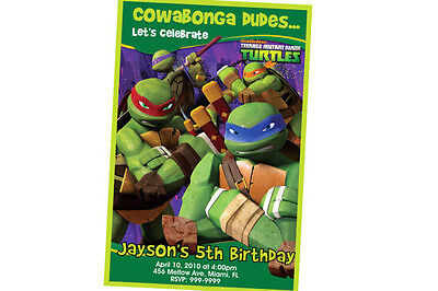 Teenage Mutant Ninja Turtles Birthday Invitation 24hr Service UPRINT 4x6 or 5x7