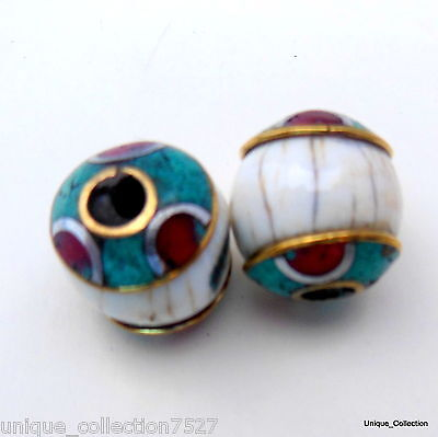 BD-197 Nepalese Artisan Handmade Tibetan Conch Shell Turquoise Coral Brass Beads