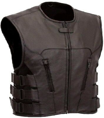 Motorcycle SWAT LEATHER VEST Biker Rider Scooter Security Stylish SECURITY VEST