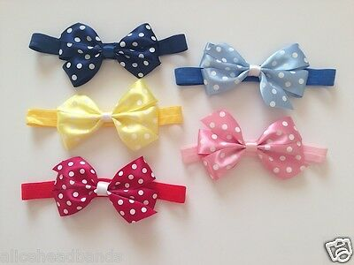 Satin Polka Dots Double Bows Baby Girl Headbands | Soft Elasticated Band + Lot