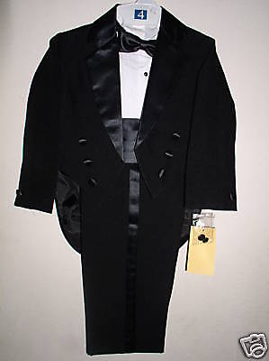 New Toddler Boys Black Tuxedo  with Tails Size 2T