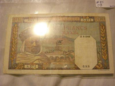 Algeria 100 Francs Banknote In AU Condition Rare 1940 FREE SHIPPING!